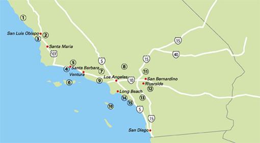 ロサンゼルス近郊キャンプ場マップ